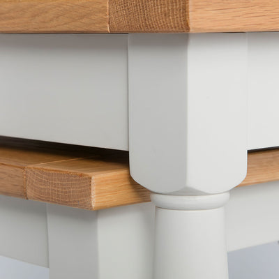 Close up of the cream painted solid wood frame on the Chichester Ivory Nest of Tables