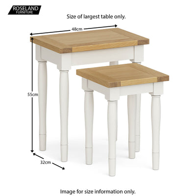Chichester Nest of Tables in Ivory - Size Guide
