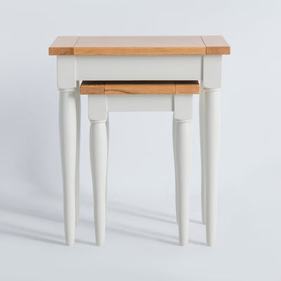 Front view of the Chichester Ivory 2 Nested Tables