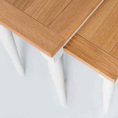 Close up of the oak tops on the Chichester Ivory Nest of Tables