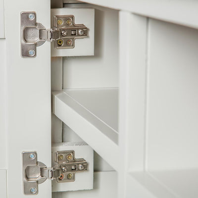 Close up of the cabinet drawer hinges on the Chichester Ivory Small TV Unit
