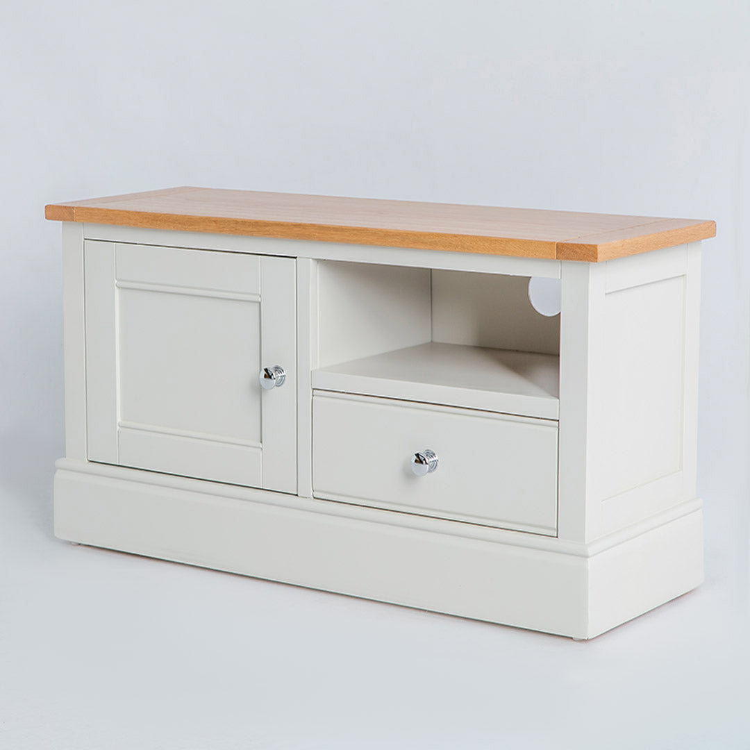 Side view of the Chichester Ivory Small TV Stand