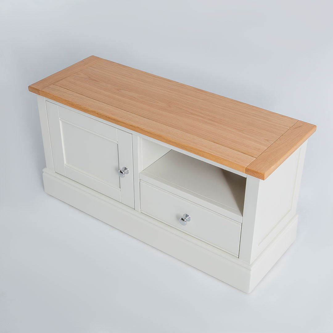 Chichester Ivory Small TV Unit with oak top