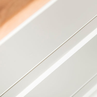 Close up of the fixed shelf on the Chichester Ivory Cream Mini Cupboard