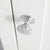 Close up of the silver door handle on the Chichester Ivory Cream Mini Cupboarda