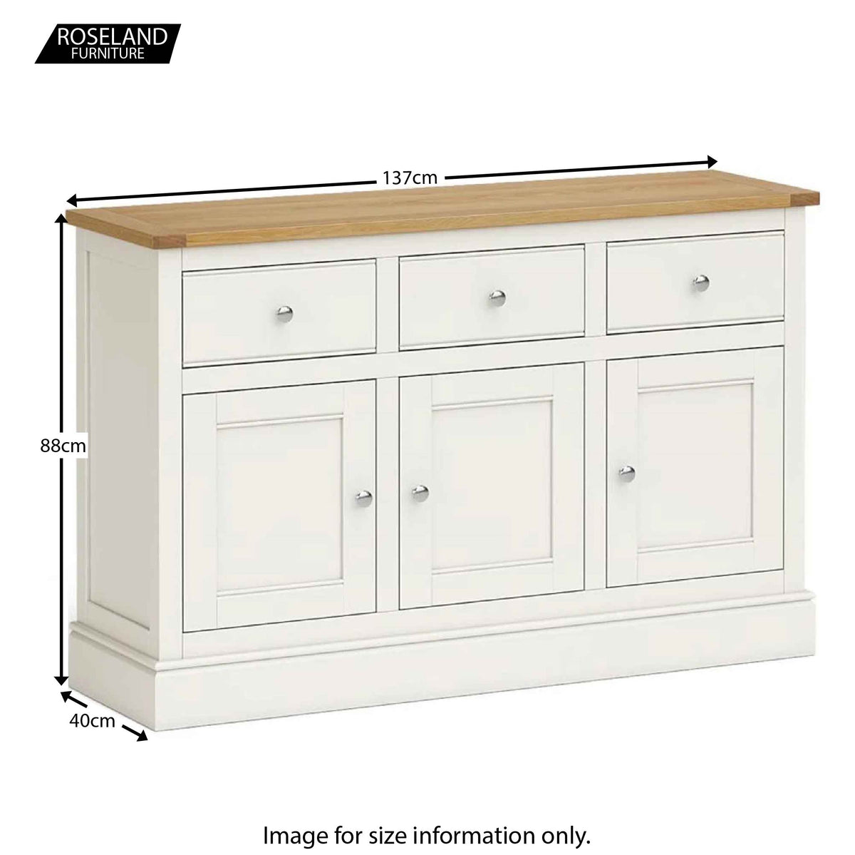 Chichester Large Sideboard in Ivory - Size Guide