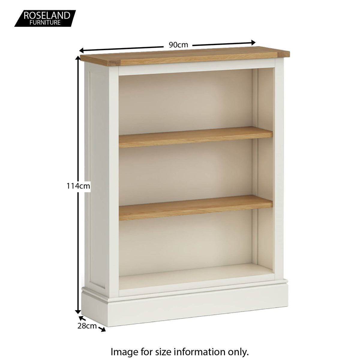 Chichester Small Bookcase in Ivory - Size Guide