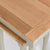 Close up of the oak tops on the Chichester Ledum Green 2 Nested Tables