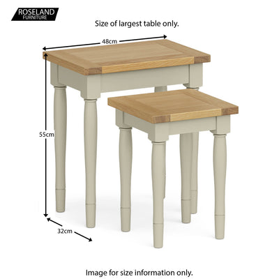 Chichester Nest of Tables in Ledum Green - Size Guide