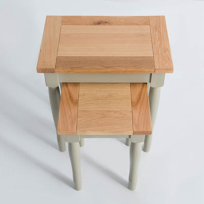 Top view of the Chichester Ledum Green Living Room Nested Side Tables