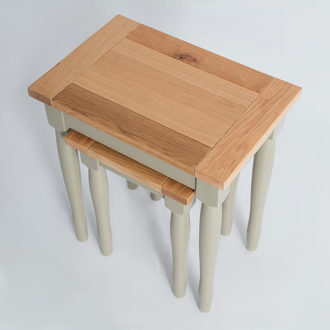 Topside view of the Chichester Ledum Green 2 Stackable Nesting Tables