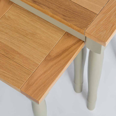 Close up of the oak tops on the Chichester Ledum Green Nest of Tables