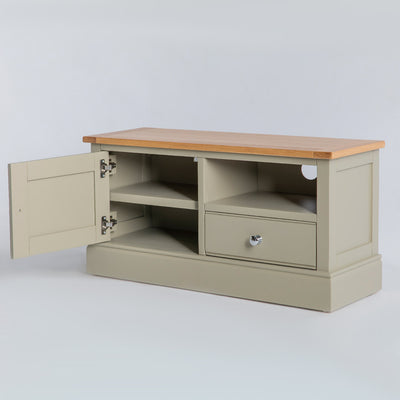 Side view of the Chichester Ledum Green Small TV Unit