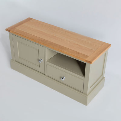 Top view of the Chichester Ledum Green Small TV Unit with oak top