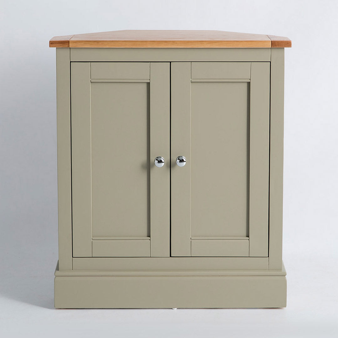 Front view of the Chichester Ledum Green Corner Cupboard