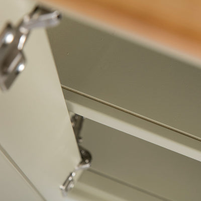 Close up of the fixed shelf on the Chichester Ledum Green Corner Cupboard Cabinet