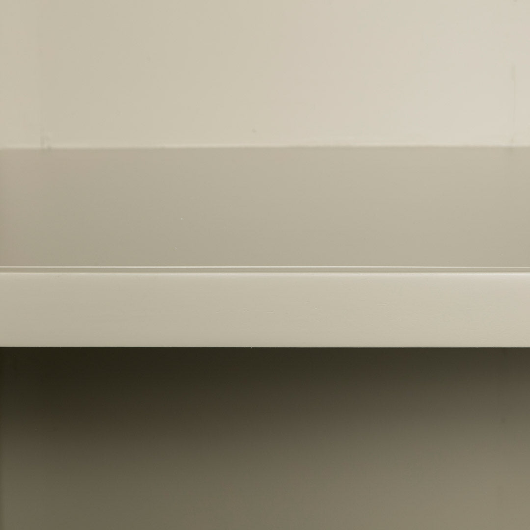 Close up of the fixed shelf on the Chichester Ledum Green Corner Cupboard