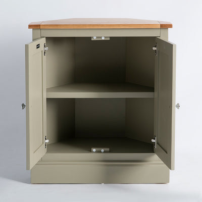 Internal view of the Chichester Ledum Green Corner Cupboard