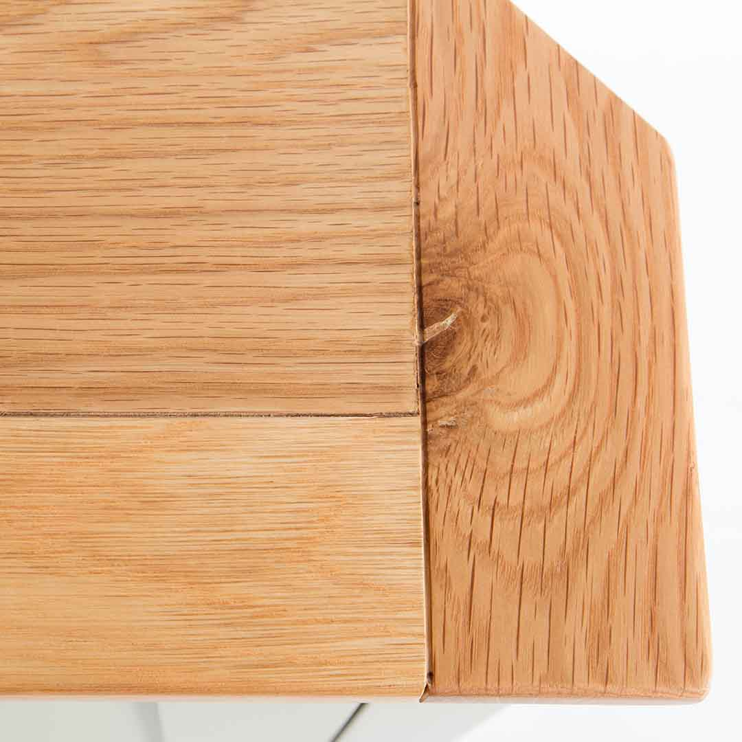 Close up of the oak top wood grain on the Chichester Ledum Green Corner Cupboard