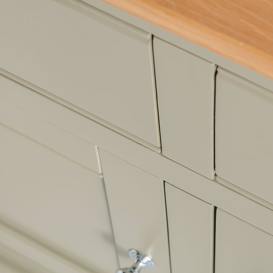 Close up of the painted green drawers on the Chichester Green Small Sideboard