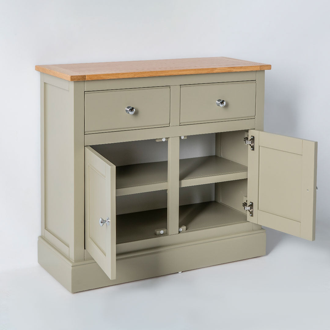Opened cabinet door view of the Chichester Ledum Green Small Sideboard