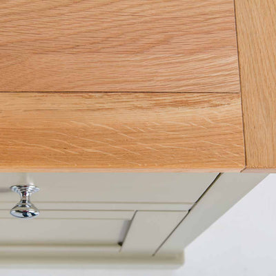 Close up of the oak top on the Chichester Ledum Green Small Sideboard