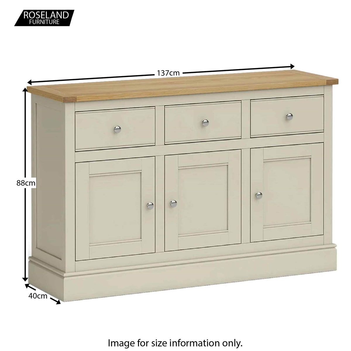 Chichester Large Sideboard in Ledum Green - Size Guide