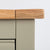 Close up of the oak top edge on the Chichester Ledum Green Extra Large Sideboard