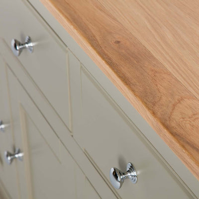 Close up of the drawers on the Chichester Ledum Green Extra Large Sideboard