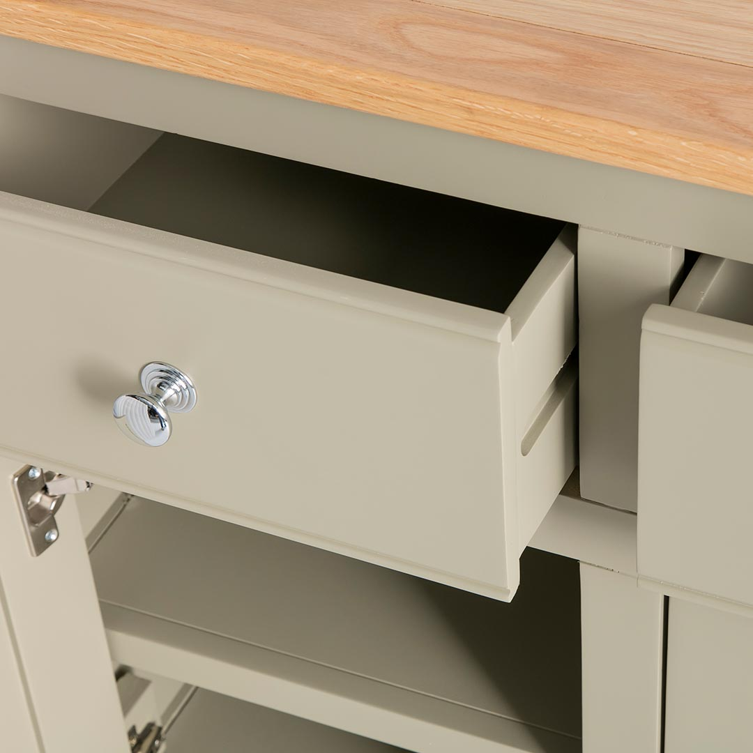 opened drawer view of the Chichester Ledum Green Extra Large Sideboard