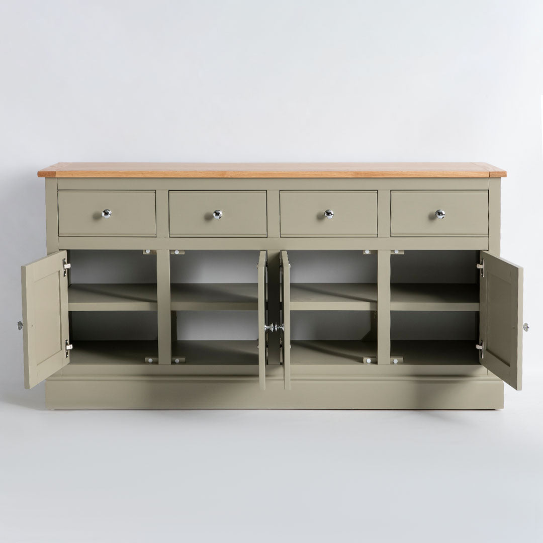 Internal view of the Chichester Ledum Green 4 Door Sideboard