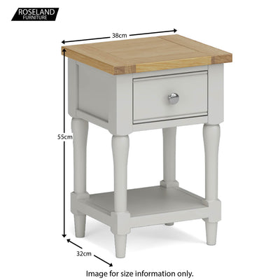 Chichester Lamp/Side Table in Grey - Size Guide