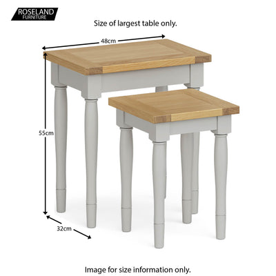 Chichester Nest of Tables in Grey - Size Guide