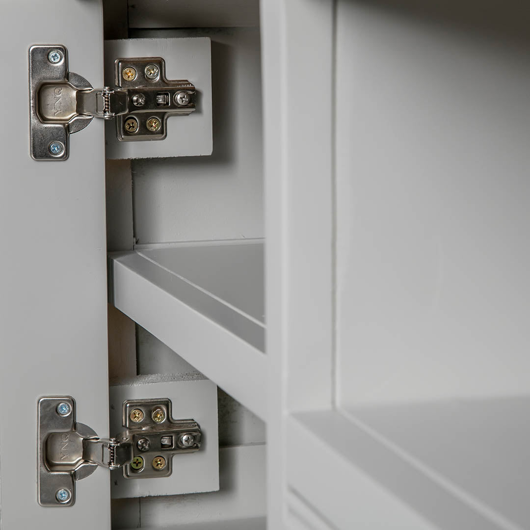 Close up of the cabinet door hinges on the Chichester Grey Small TV Unit