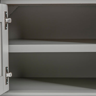 Close up of the cabinet fixed shelf on the Chichester Grey Small TV Unit