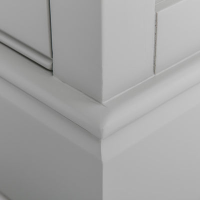 Close up of the plinth base on the Chichester Grey Small TV Unit