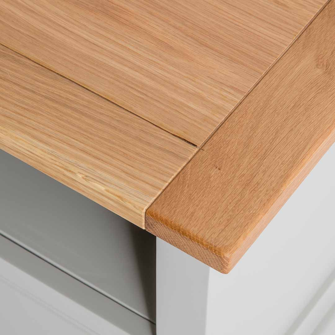 Close up of the oak top on the Chichester Grey Small TV Unit