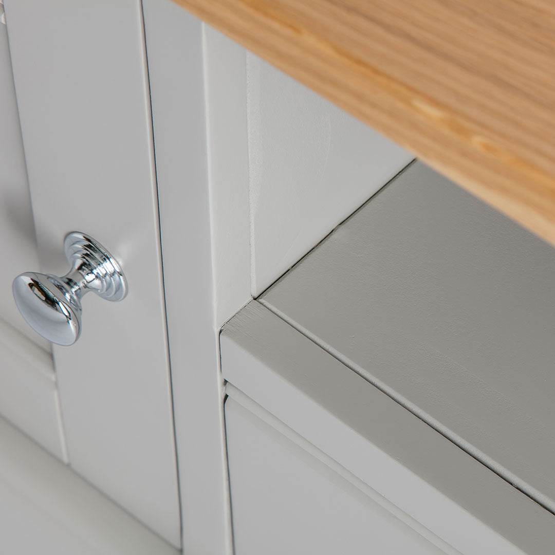 Close up of the painted grey wooden frame on the Chichester Grey Small TV Unit