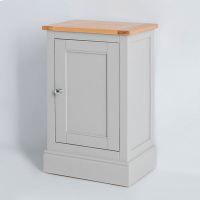 Side view of the Chichester Chester Grey Slim Mini Cupboard