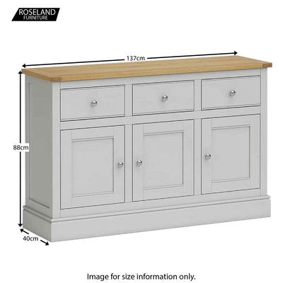 Chichester Large Sideboard in Grey - Size Guide