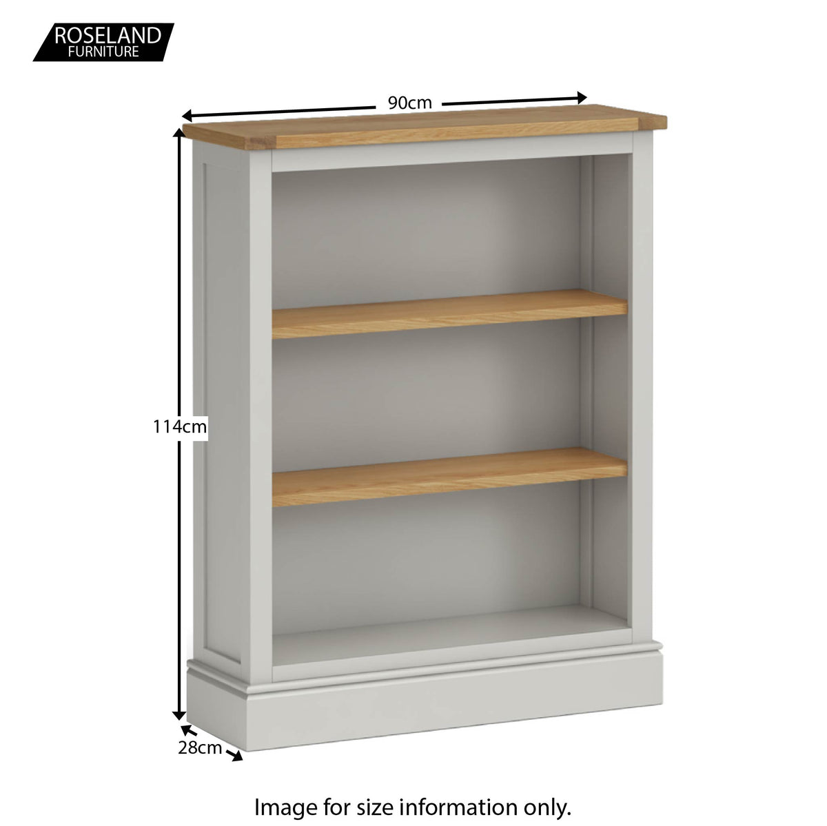 Chichester Small Bookcase in Grey - Size Guide