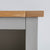 Close up of the top corner edge on the Chichester Chester Grey Low Bookcase