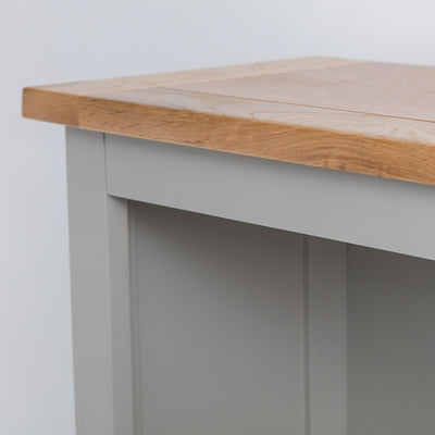 Close up of the oak top edge on the Chichester Chester Grey Small Bookcase