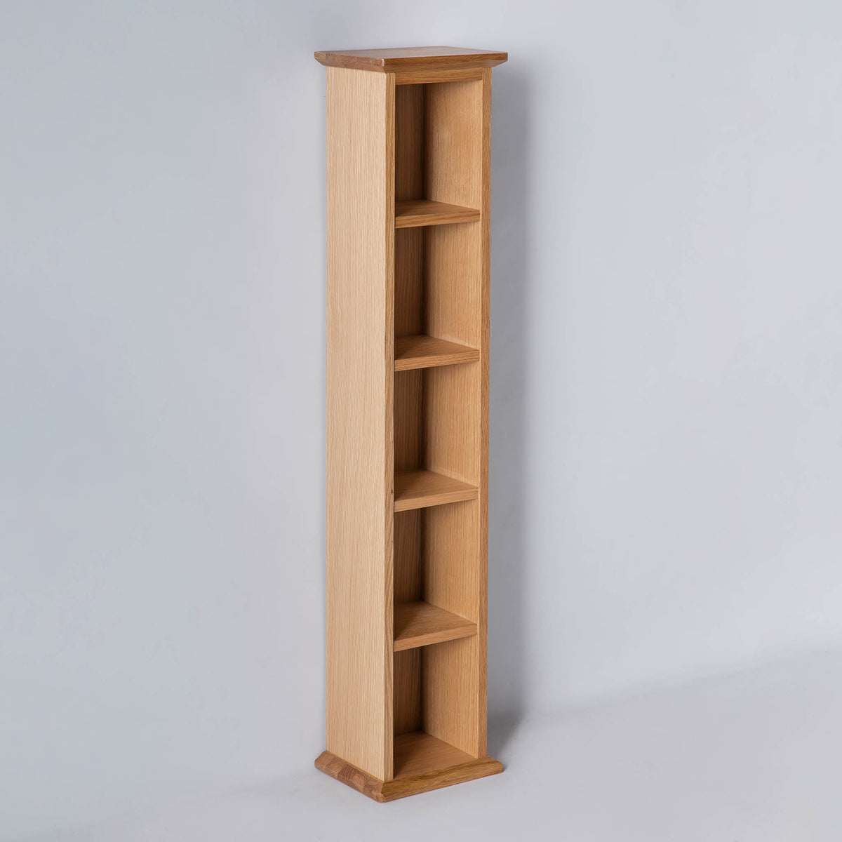 side view of the Light Oak Single DVD Tower