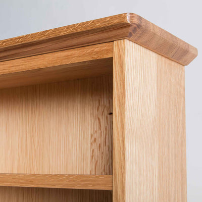close up of tapered top on the Light Oak Triple CD Tower