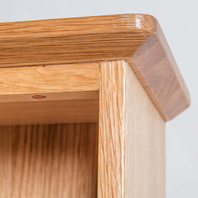 Close up of the top lip on the Light Oak Triple CD Tower
