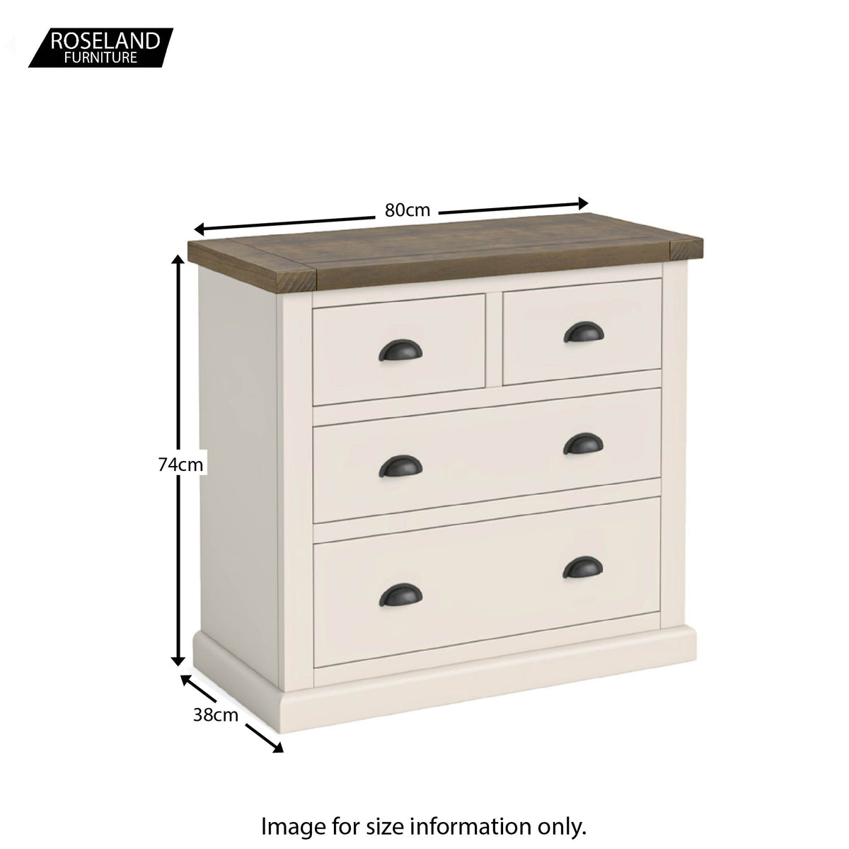 Dimensions - Hove Ivory 2 Over 2 Chest of Drawers