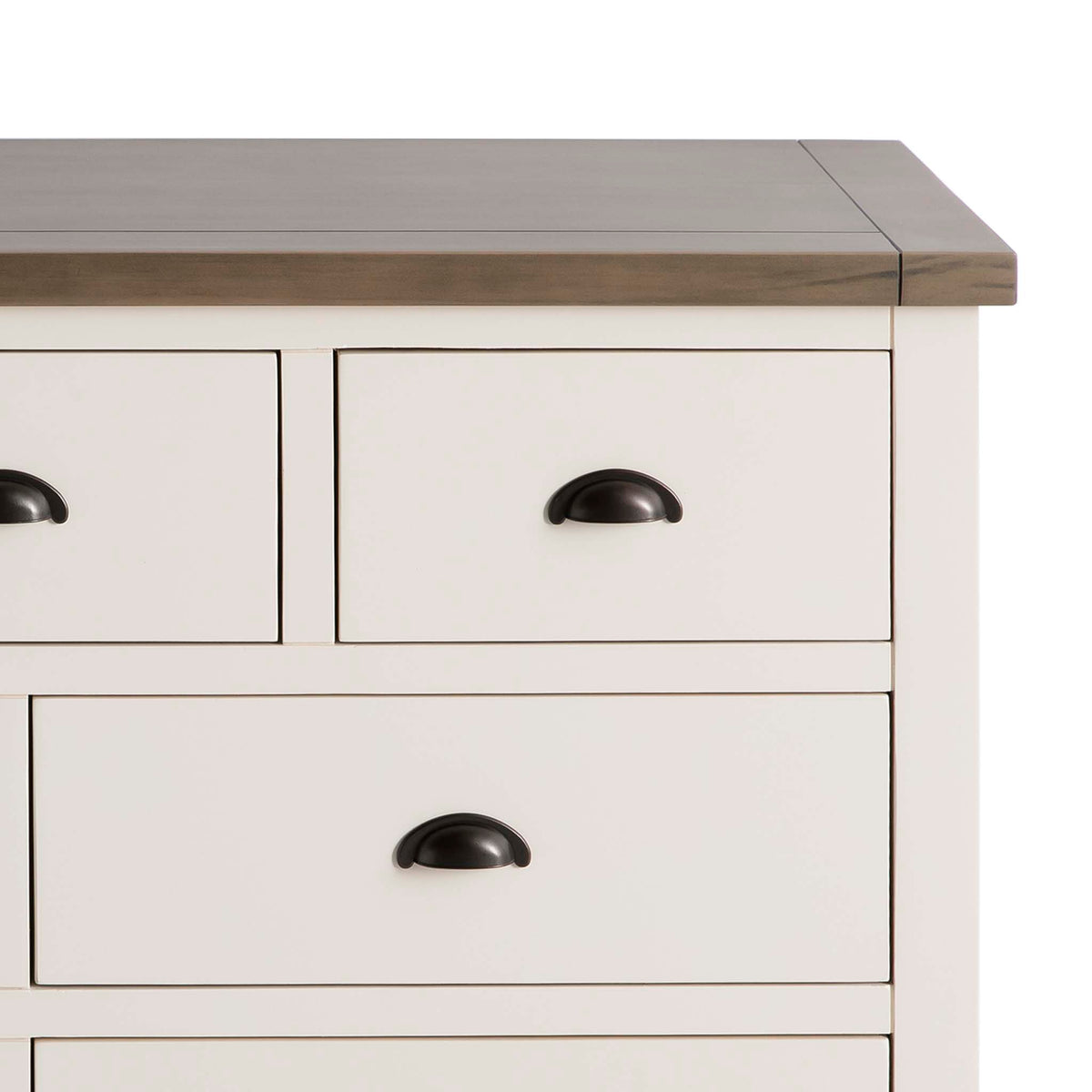 Hove Ivory 3 Over 4 Chest of Drawers - Close up of smaller top drawer front