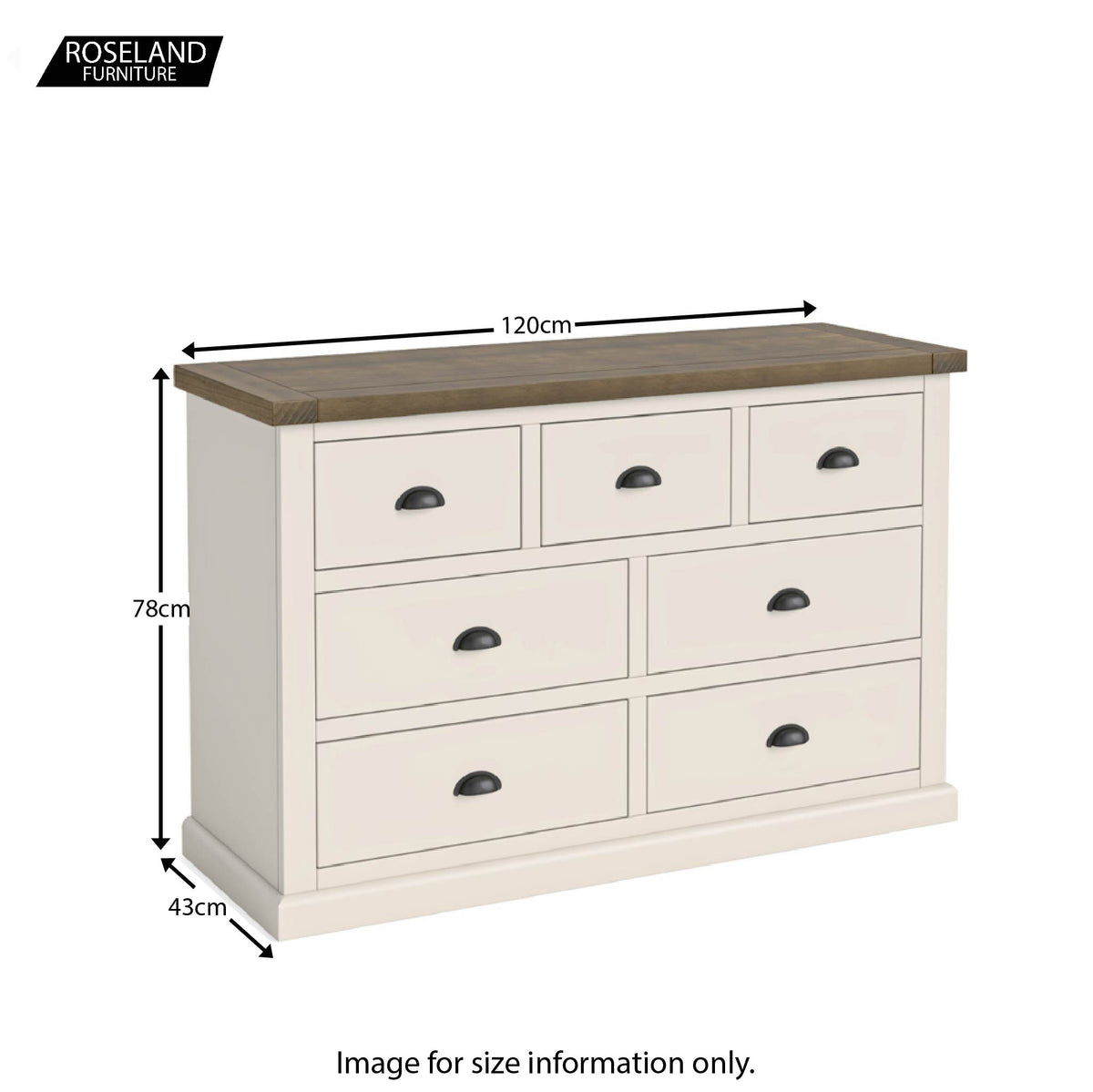Dimensions - Hove Ivory 3 Over 4 Chest of Drawers