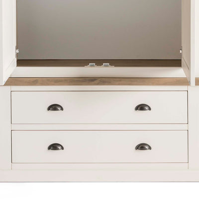 Hove Ivory Double Wardrobe with Drawers - Close up of lower drawers on wardrobe